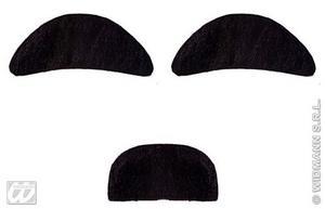 Black Mad Professor Moustache Set Fancy Dress Halloween Facial Har