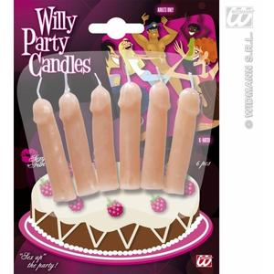 Pack Of 6 Willy Cock Penis Birthday Hen Night Party Candles Decoration