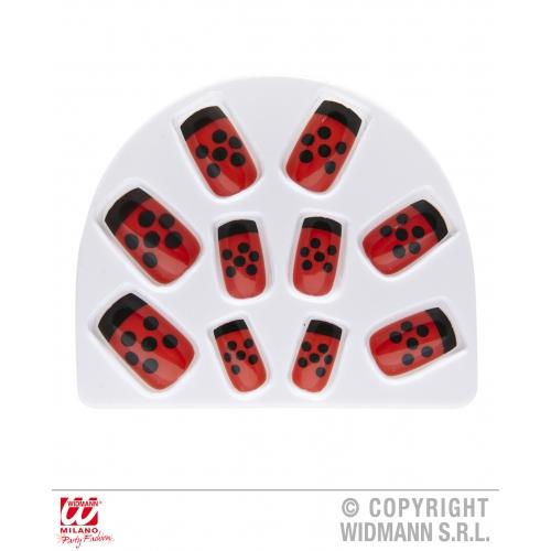 Pack Of 10 Red & Black Ladybug Ladybird Fake Nails Fancy Dress Costume Accessory