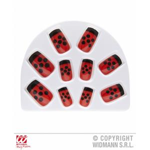 Pack Of 10 Red & Black Ladybug Ladybird Fake Nails Fancy Dress Costume Accessory
