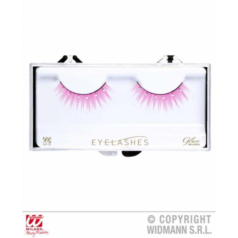 Ladies Pink Spiked Eyelashes With Diamonte Details & Bottle Of Glue