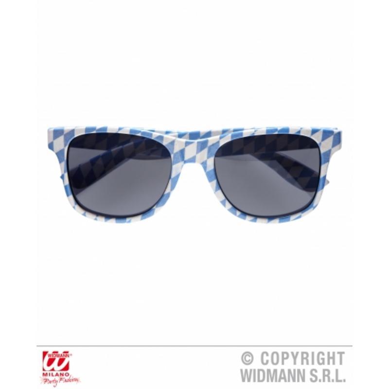 Blue & White Chequered Wayfare Sunglasses Bavarian Fancy Dress Glasses