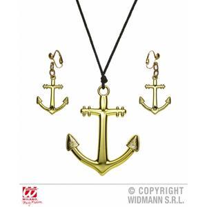 Gold Anchor Necklace & Earring Set Nautical Sailor Fancy Dress Kit