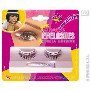 Ladies Black Eyelashes With Glitter & Diamonds Fake Lashes & Glue