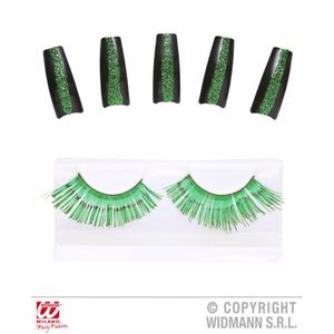 Green Eyelashes & 10 Glitter Nails Witch Fancy Dress