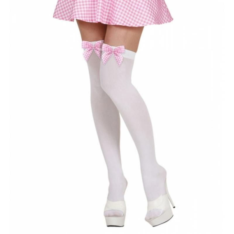 Ladies White Thigh High Long Socks Stockings With Bow - Sexy Fancy Dress Britney