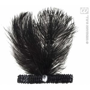 Black Sequin Headband With Feathers & Gem Flapper 1920's Dancer Girl Fancy Dress