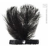 Black Sequin Headband With Feathers & Gem Flapper 1920's Dancer Girl Fancy Dress