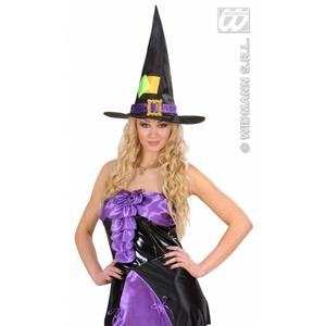 Black Sating & Velvet Witch Hat Witches Halloween Fancy Dress