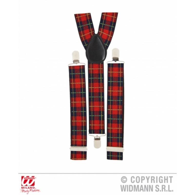 Red Tartan Scottish Braces Gangster New Years Eve Fancy Dress Prop