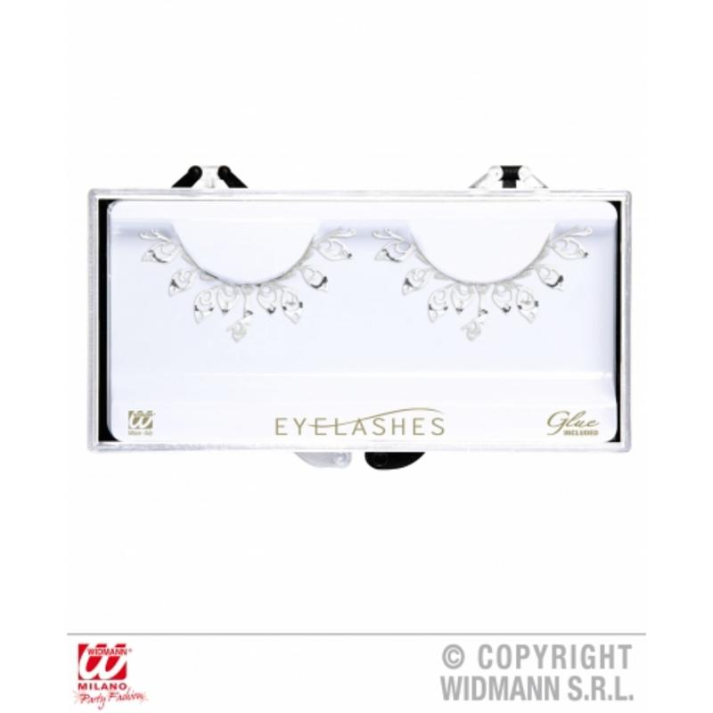 Ladies Silver Fashion Eyelashes With Tatoo Detail & Glue