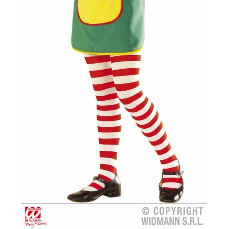 Childrens Red & White Striped Tights Umpa Lumpa Rag Doll Fancy Dress 7-10 Yrs