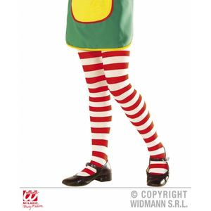 Childrens Red & White Striped Tights Umpa Lumpa Rag Doll Fancy Dress 11-14 Yrs