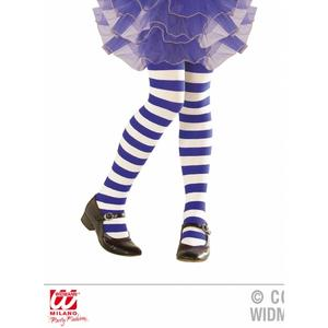 Childrens Blue & White Striped Tights Girls Fancy Dress Accessory 7-10 Yrs