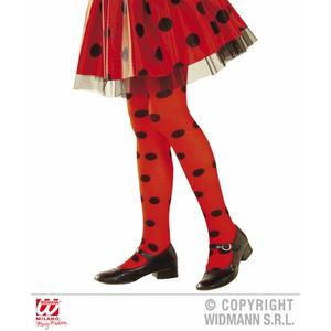 Childrens Red & Black Spotted Tights Girl Ladybug Ladybird Fancy Dress 11-14 Yrs