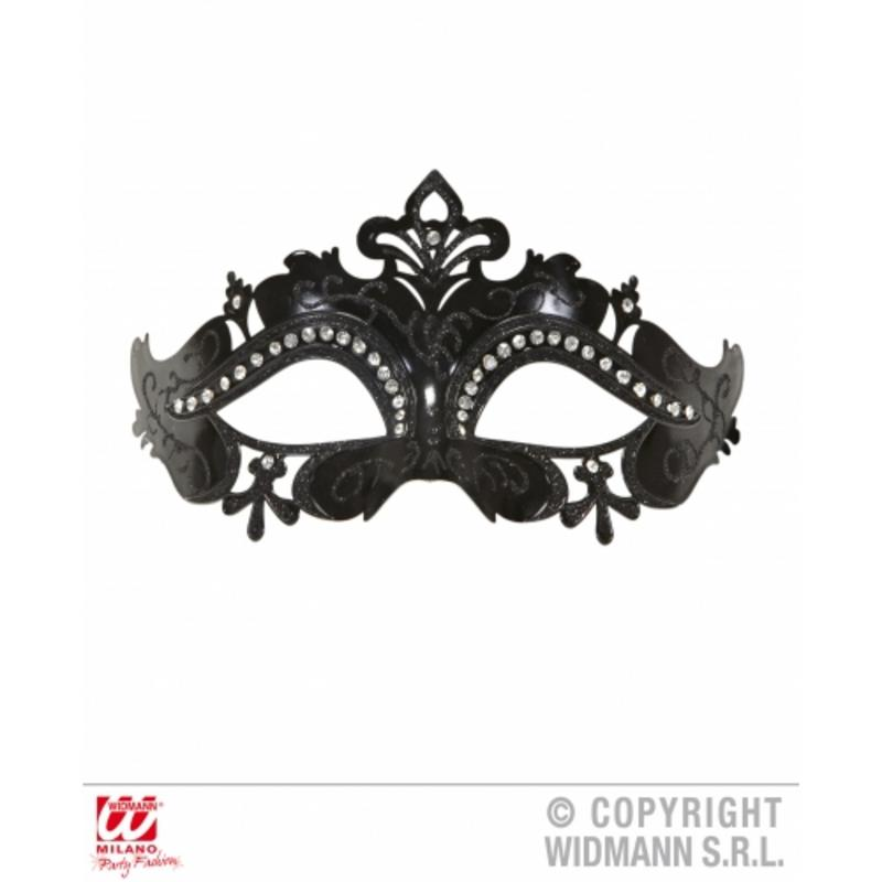 Black Venetian Eyemask With Glitter & Rhinestones Fancy Dress Prop