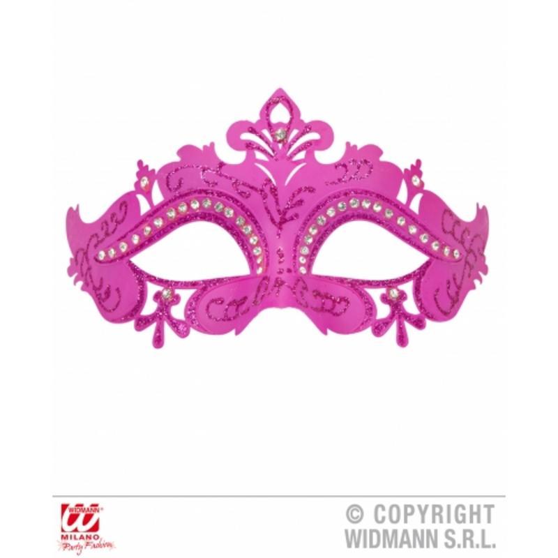 Pink Venetian Eyemask With Glitter & Rhinestones Fancy Dress Prop