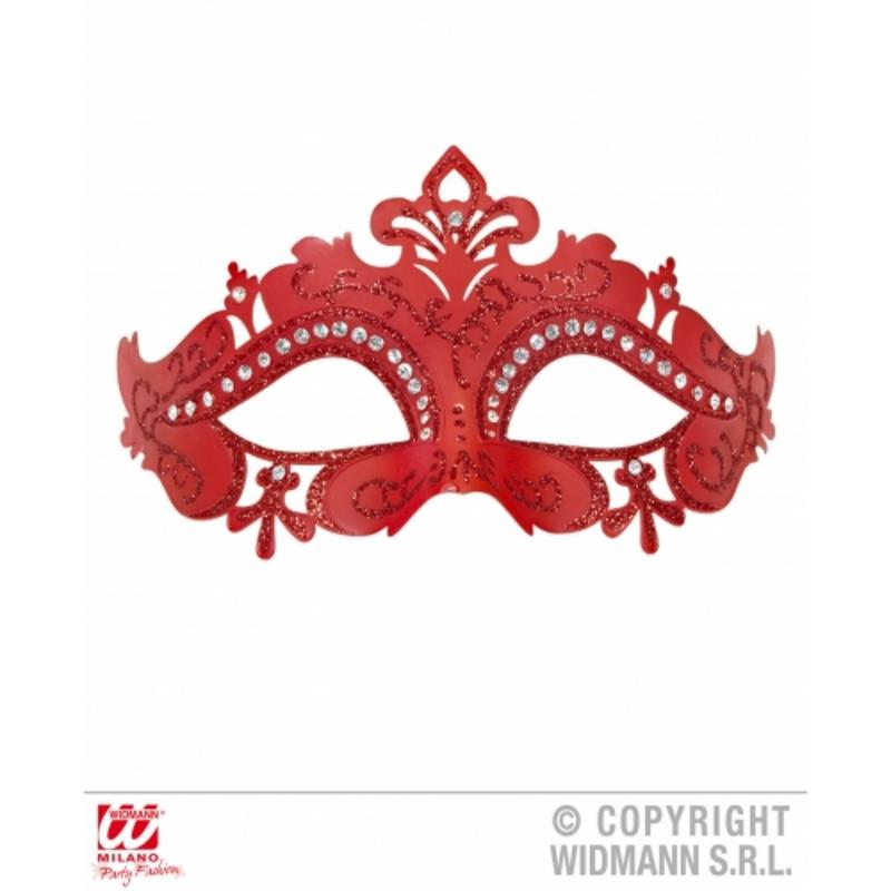 Red Venetian Eyemask With Glitter & Rhinestones Fancy Dress Prop