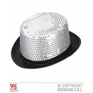 Adult Silver Sequin Top Hat Show Girl Burlesque Circus Girl Fancy Dress