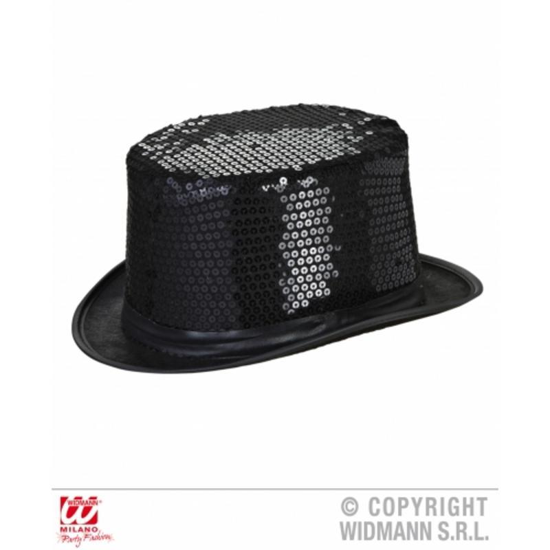 Adult Black Sequin Top Hat Show Girl Victorian Dancer Fancy Dress