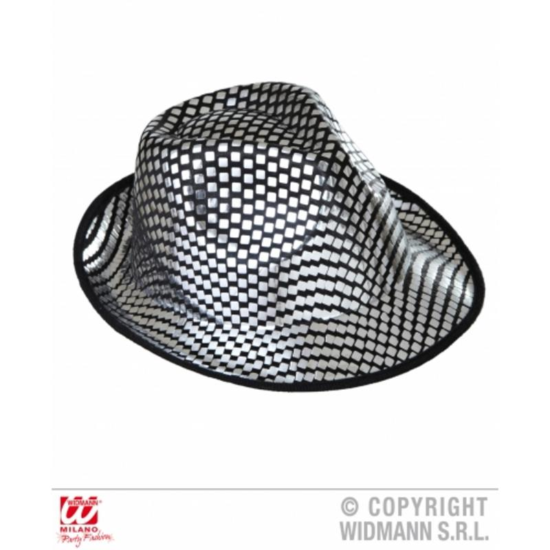 Silver Sequin Fedora Trilby Hat Show Girl Hen Night Fancy Dress Prop. zoom  Hover or click to enlarge. 1 206221a4c3ab