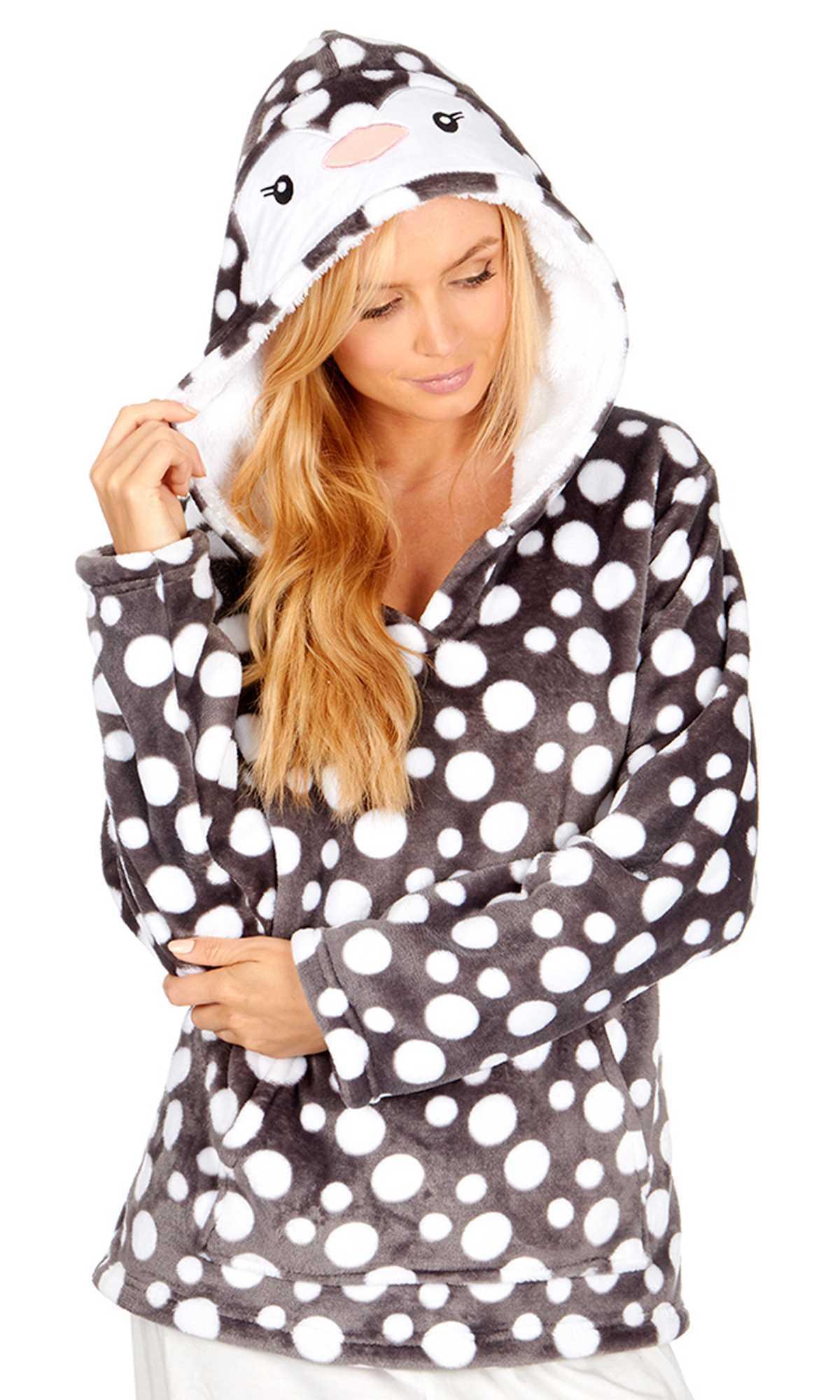 Ladies Bed Jacket Shawl Cowl Neck Fleece Dot Snuggle Top  S M L XL Grey Burgundy