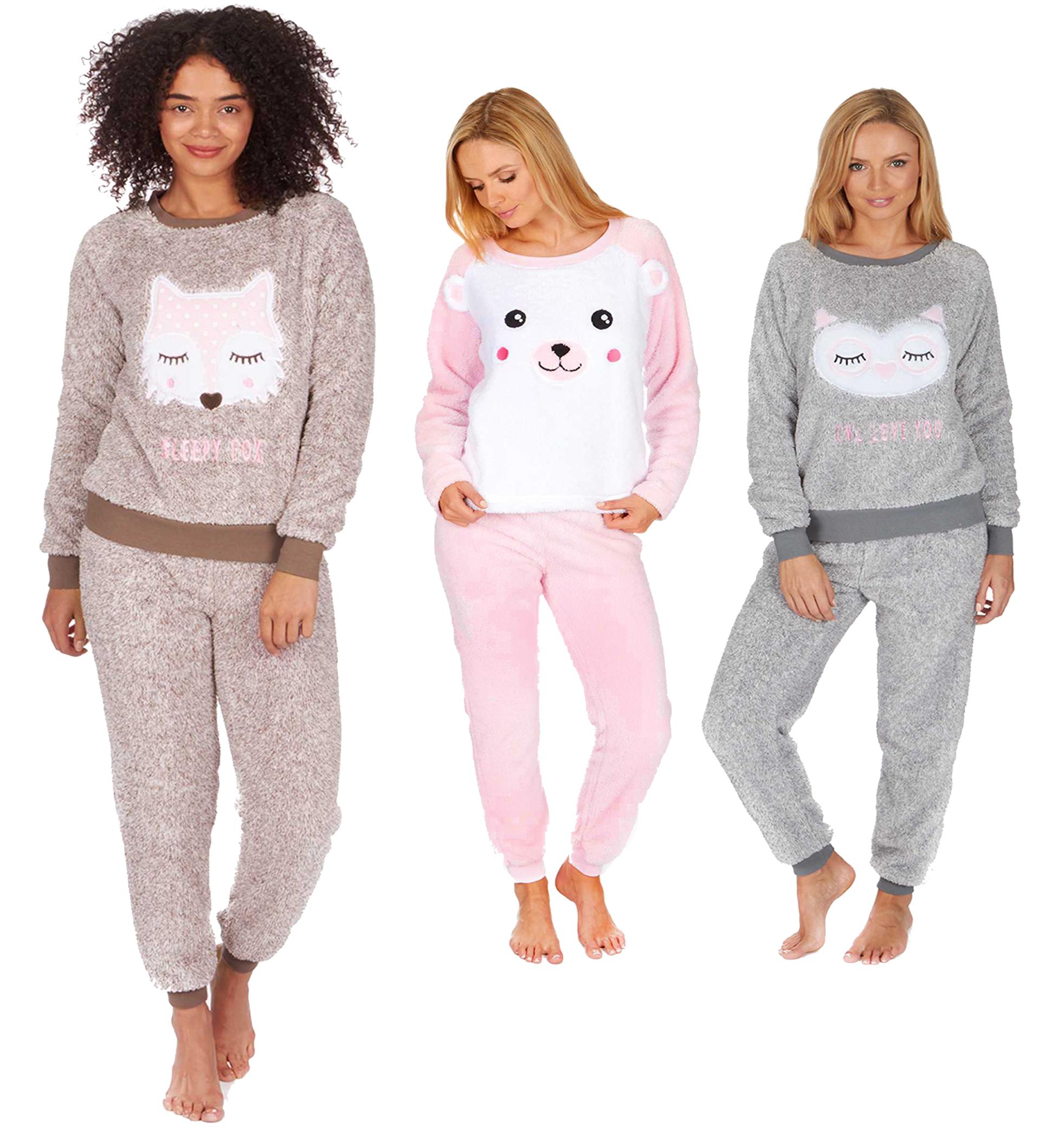 d8a6df29d Ladies Two Toned Snuggle Fleece Twosie Warm Winter PJ Pyjama Set ...