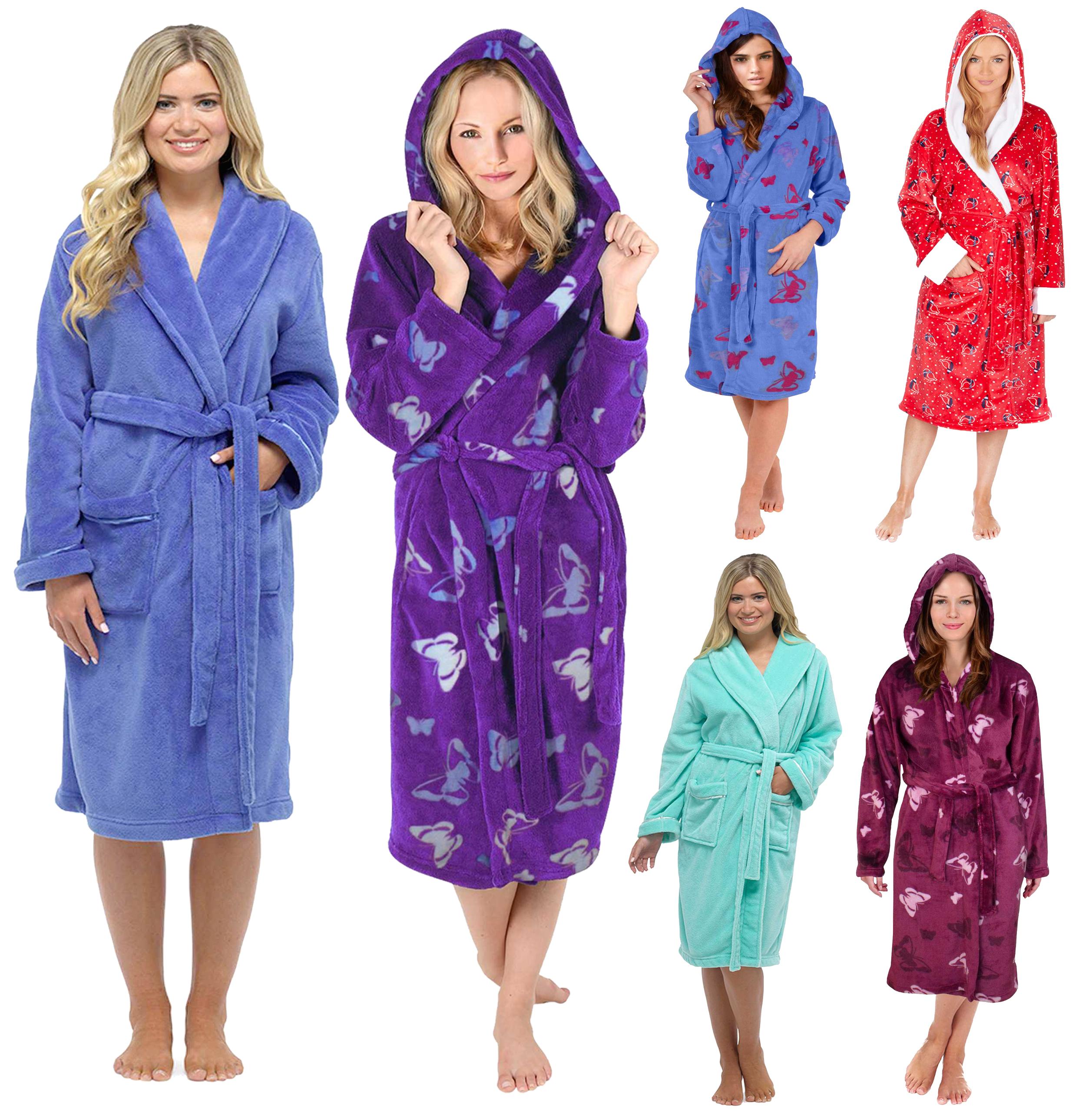 Ladies Hooded Housecoat Fleece Bath Robe Dressing Gown Soft Womens ...