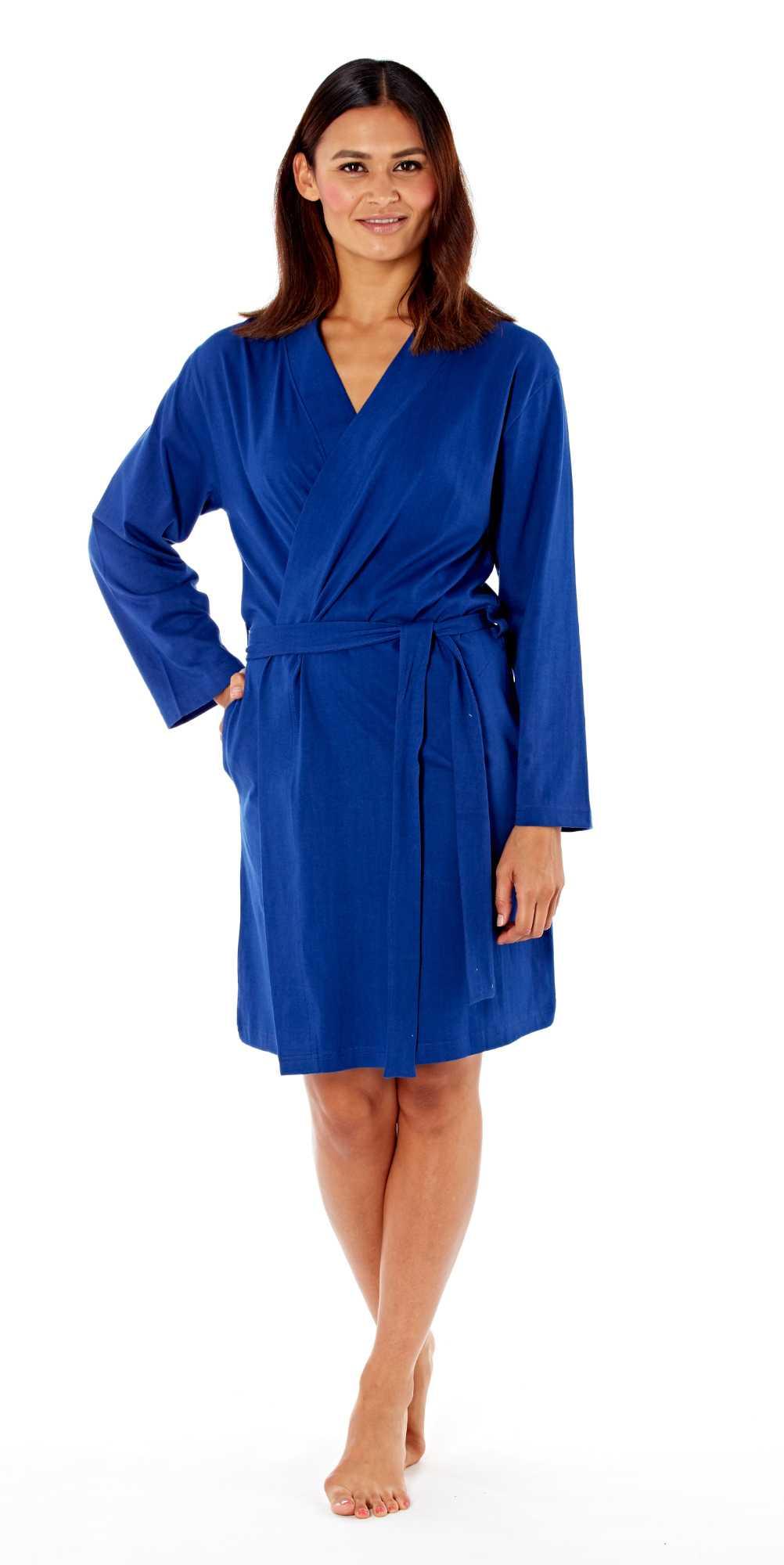 Ladies Kimono Wrap Jersey Cotton Dressing Gown Summer Bath