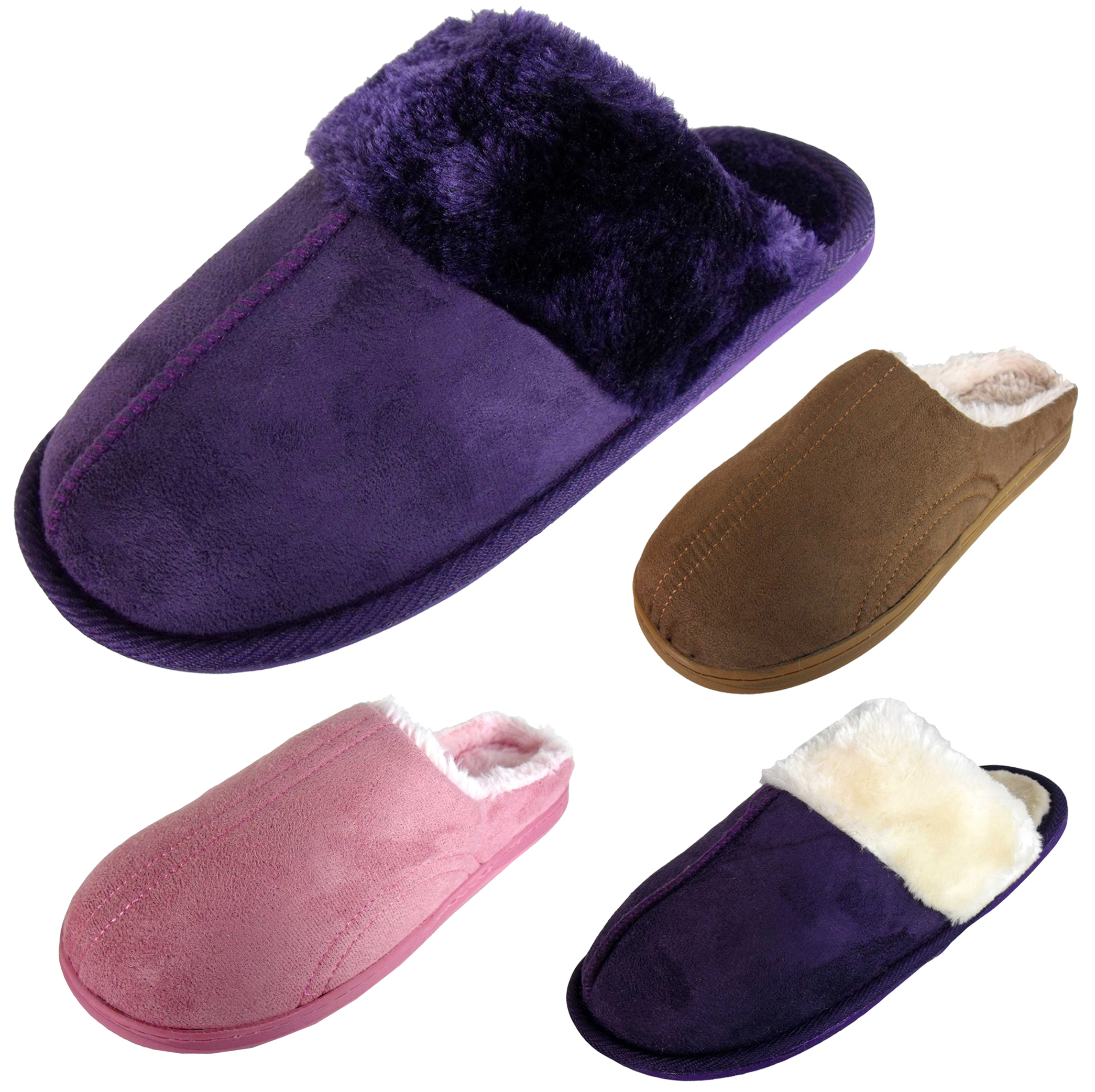 New Ladies Faux Fur Lined Mules Slippers Womens Quality Comfort Plush Slipper