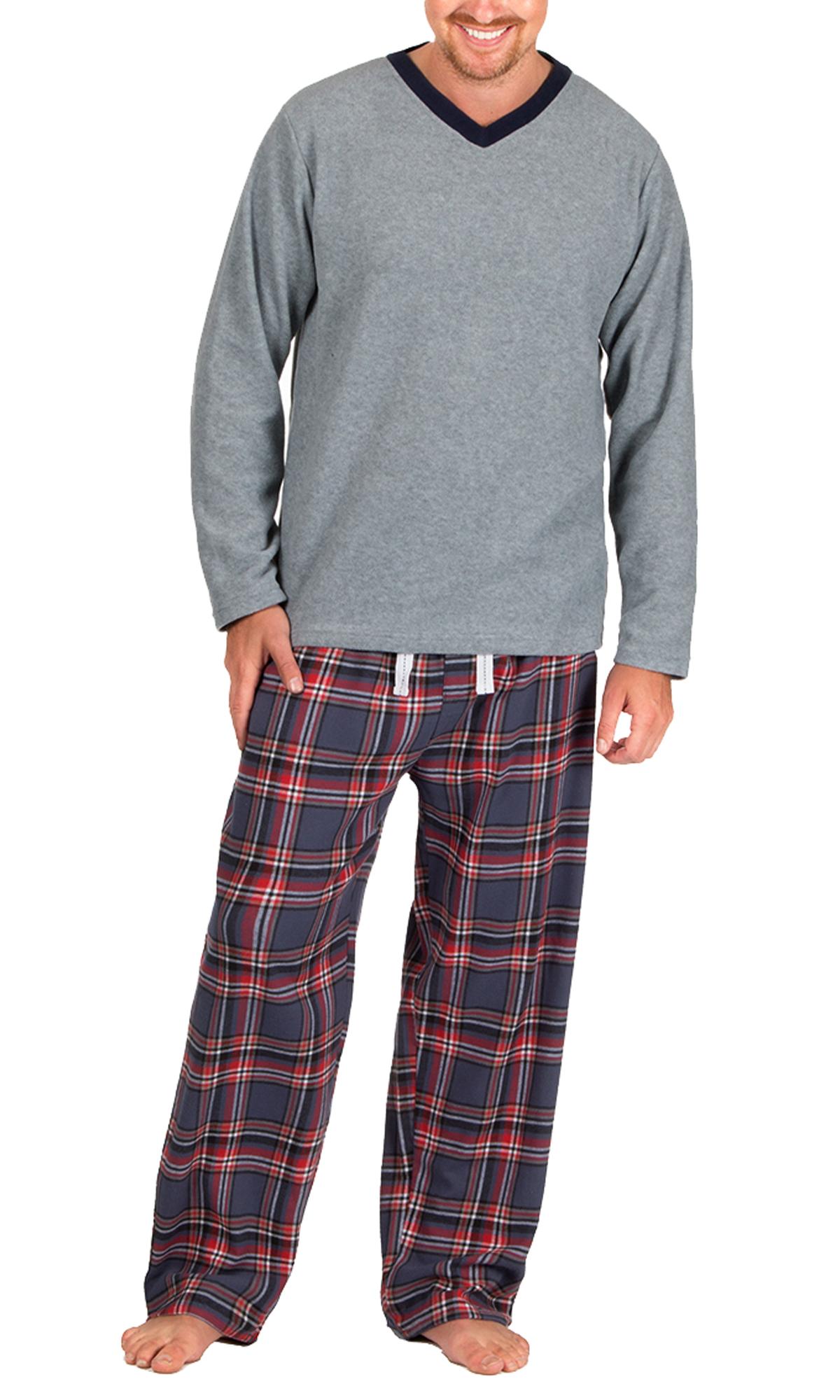 Mens Warm Fleece Jersey Winter PJ Pyjama Set Night Wear PJ s Pyjamas Sets  Gents 99f5344ff