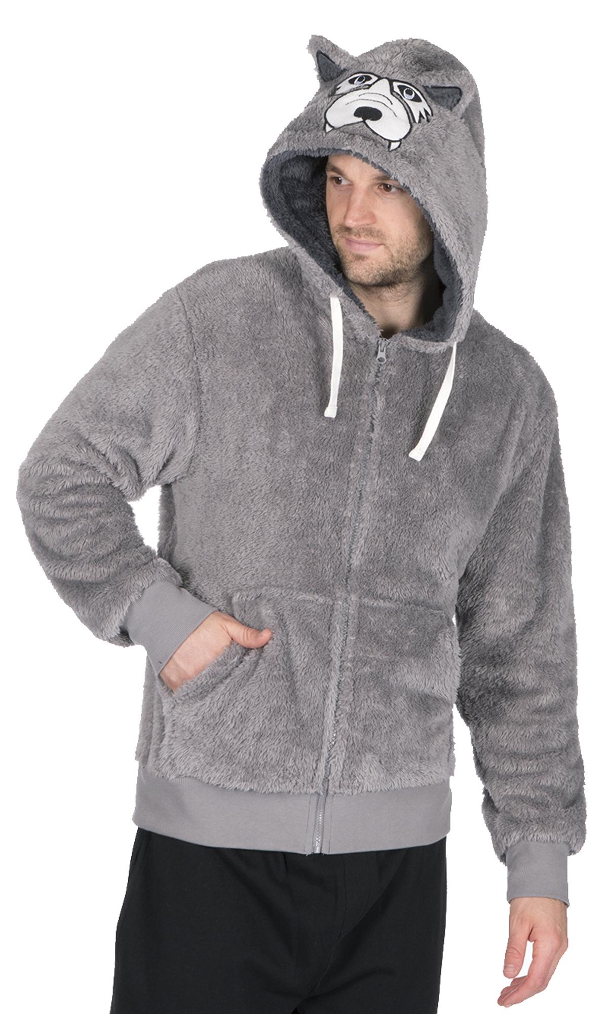 Mens Hooded Fleece Snuggle Top Bed Jacket Fun Novelty