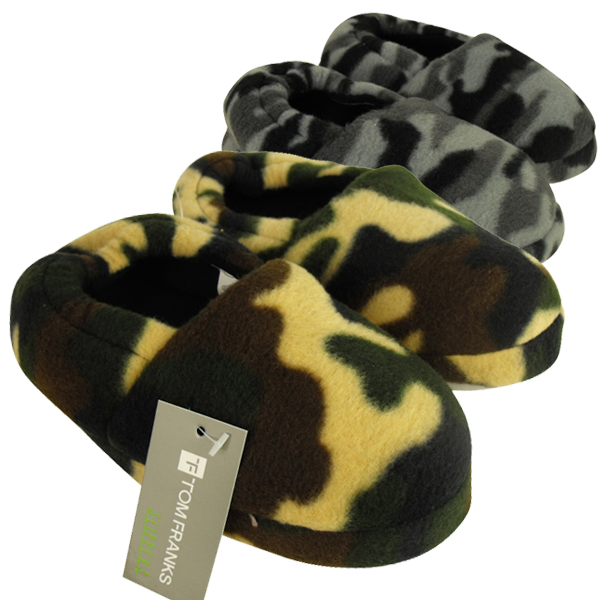 Boys Camo Slippers Novelty Army size 9-3