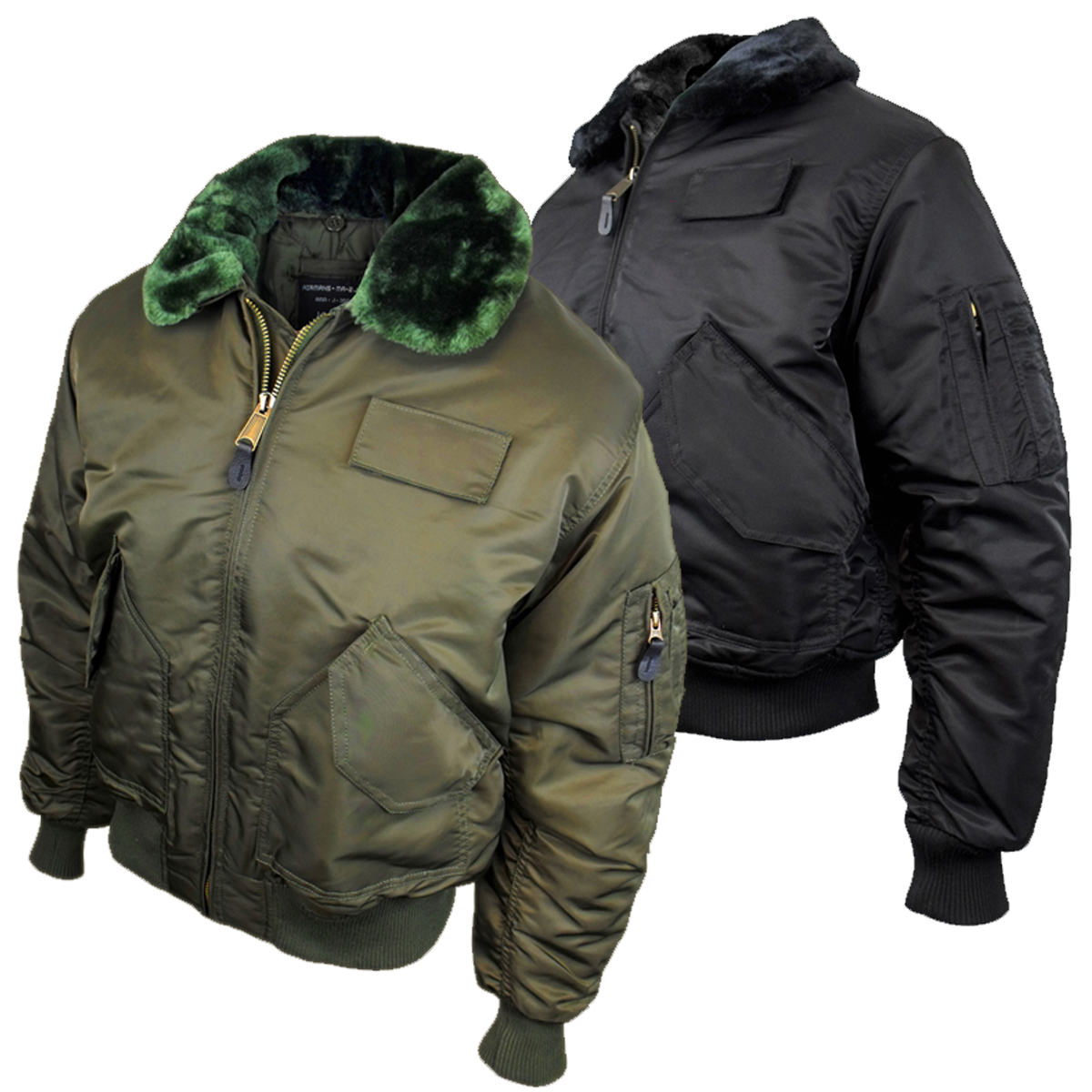 Mens Location MA2 Pilot Military Army Flight Bomber Jacket ...