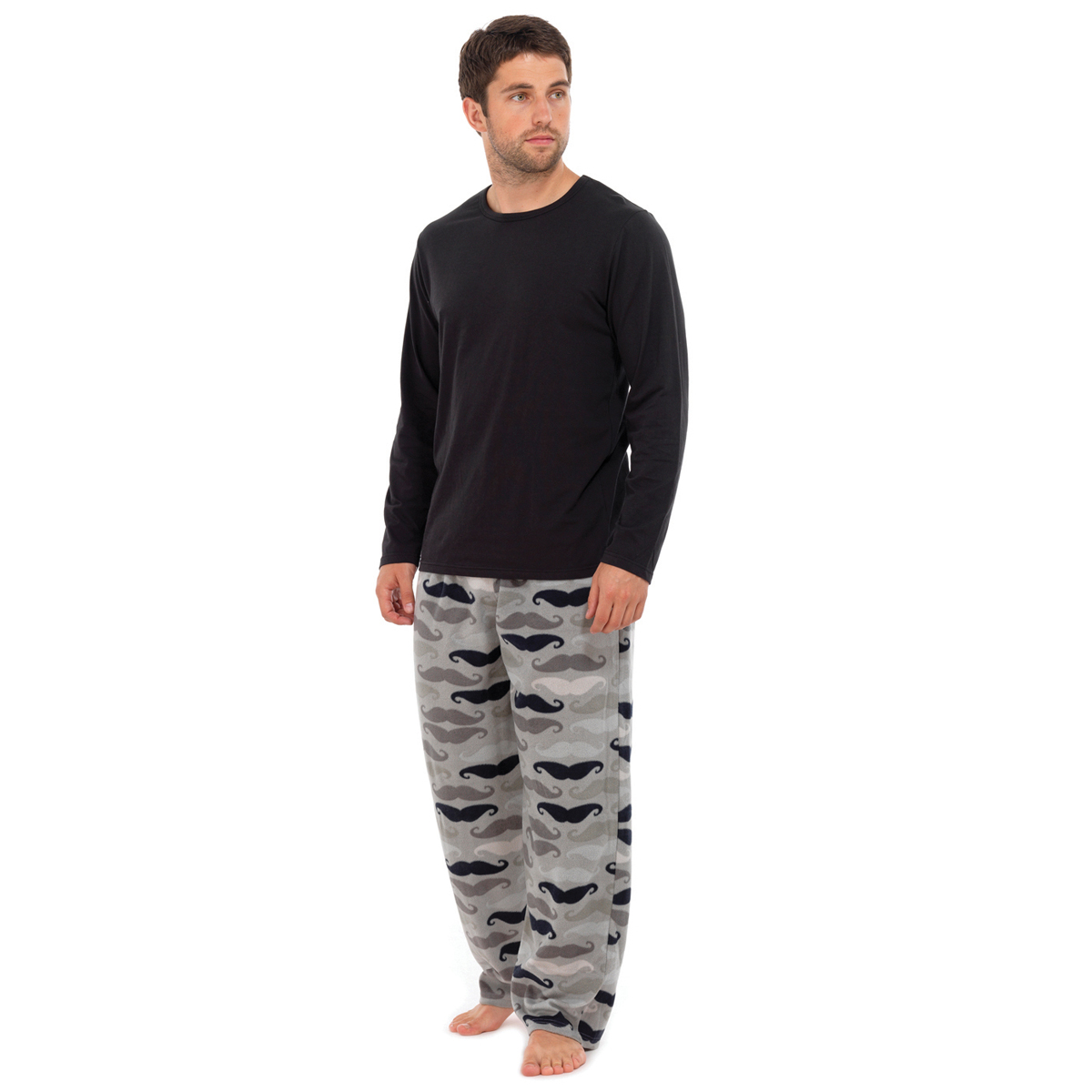 Mens Moustache PJ Print Fleece Pyjamas Sets Night Wear PJ ...