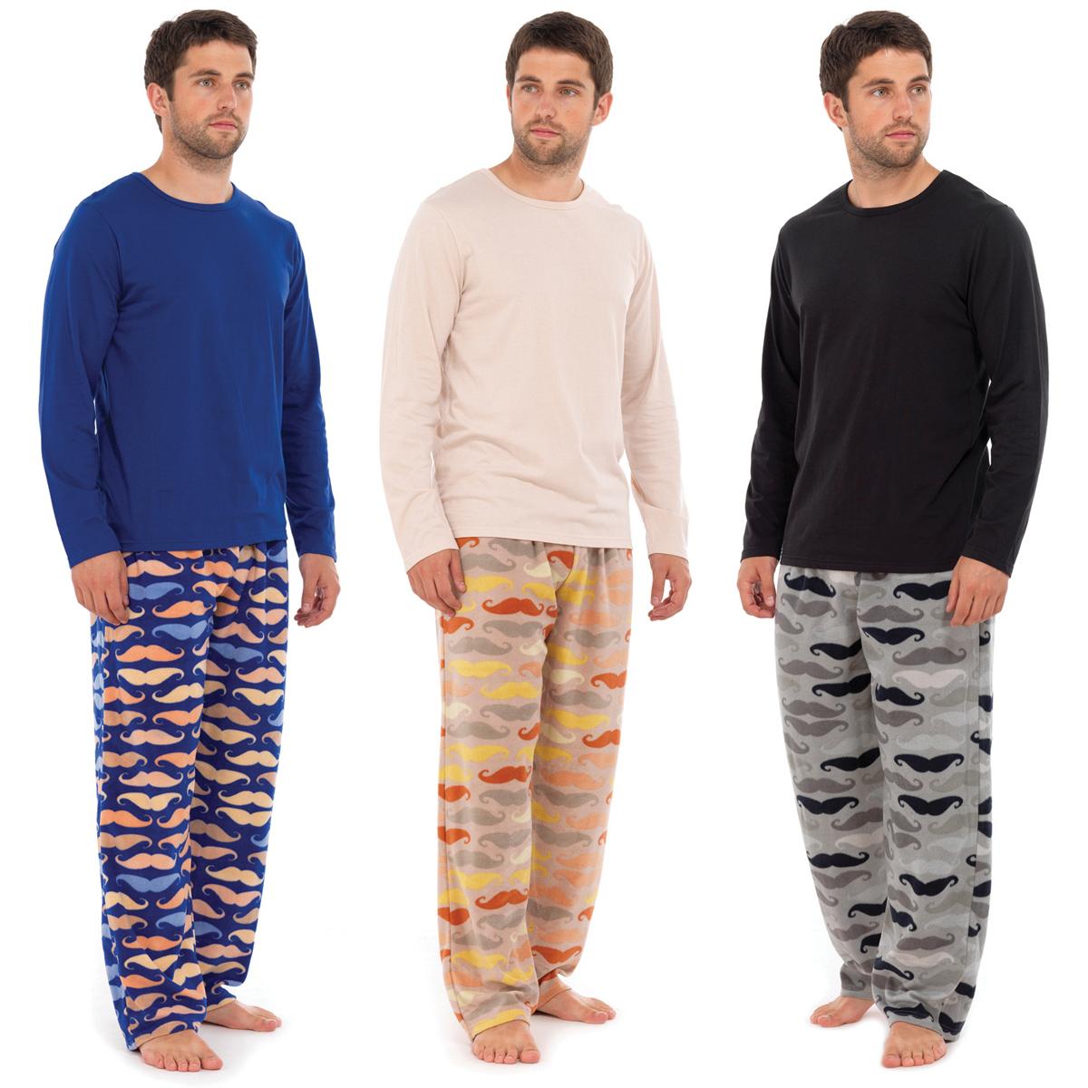 Mens Moustache PJ Print Fleece Pyjamas Sets Night Wear PJ\'s 2 Piece ...