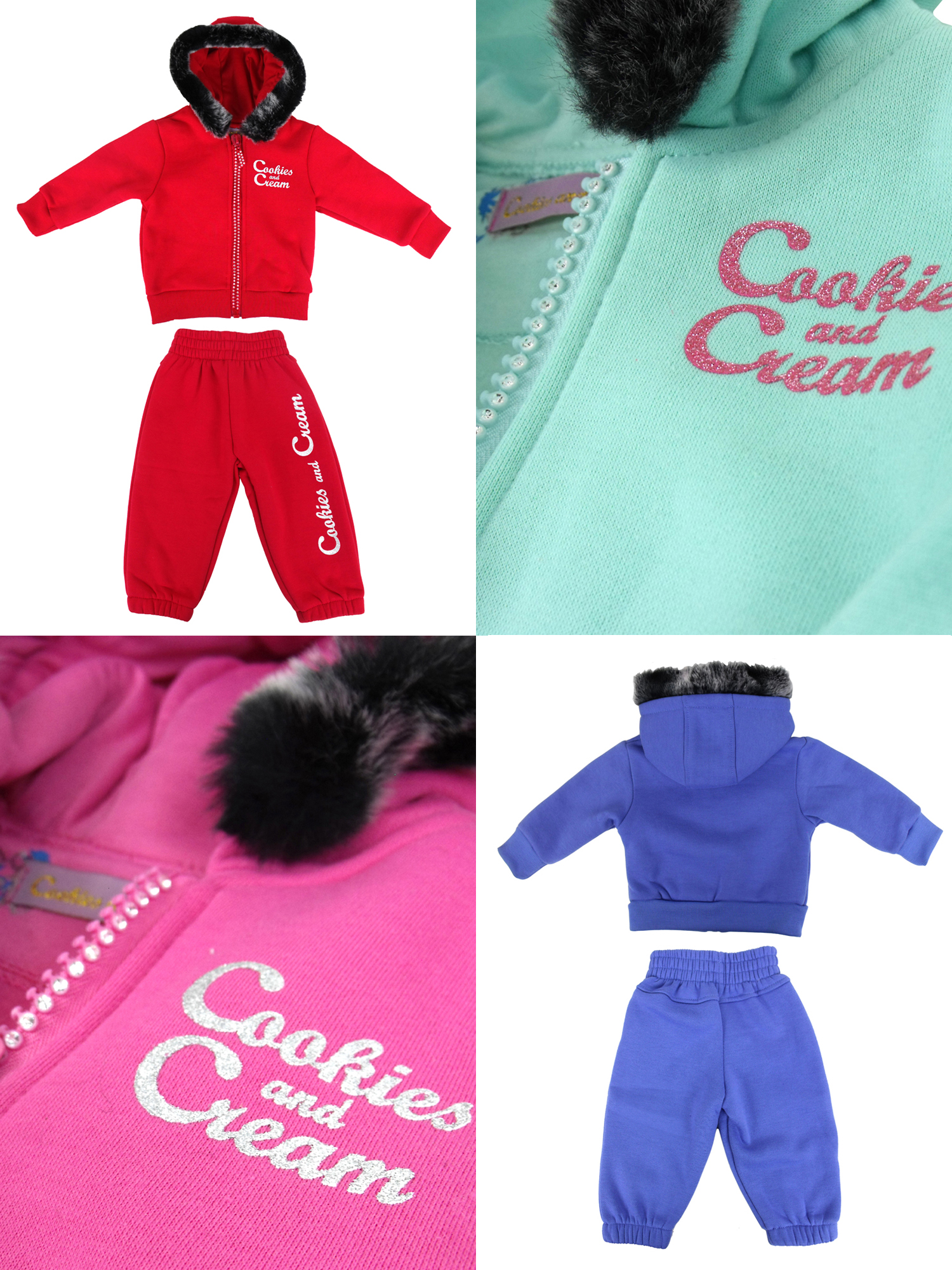 Cookies and Cream Little Girls Baby Infants Full Fleece Tracksuit Hoody Diamante Glitter Bling