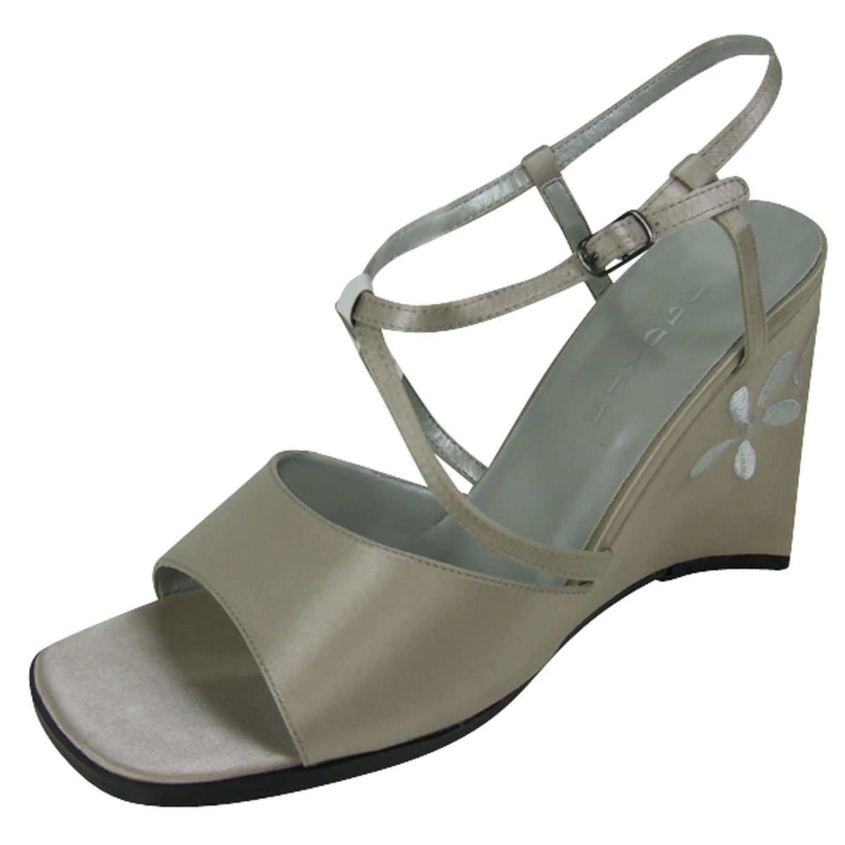 Ladies Satin Wedge Dress Sandals Shoe Womens Party Wedges