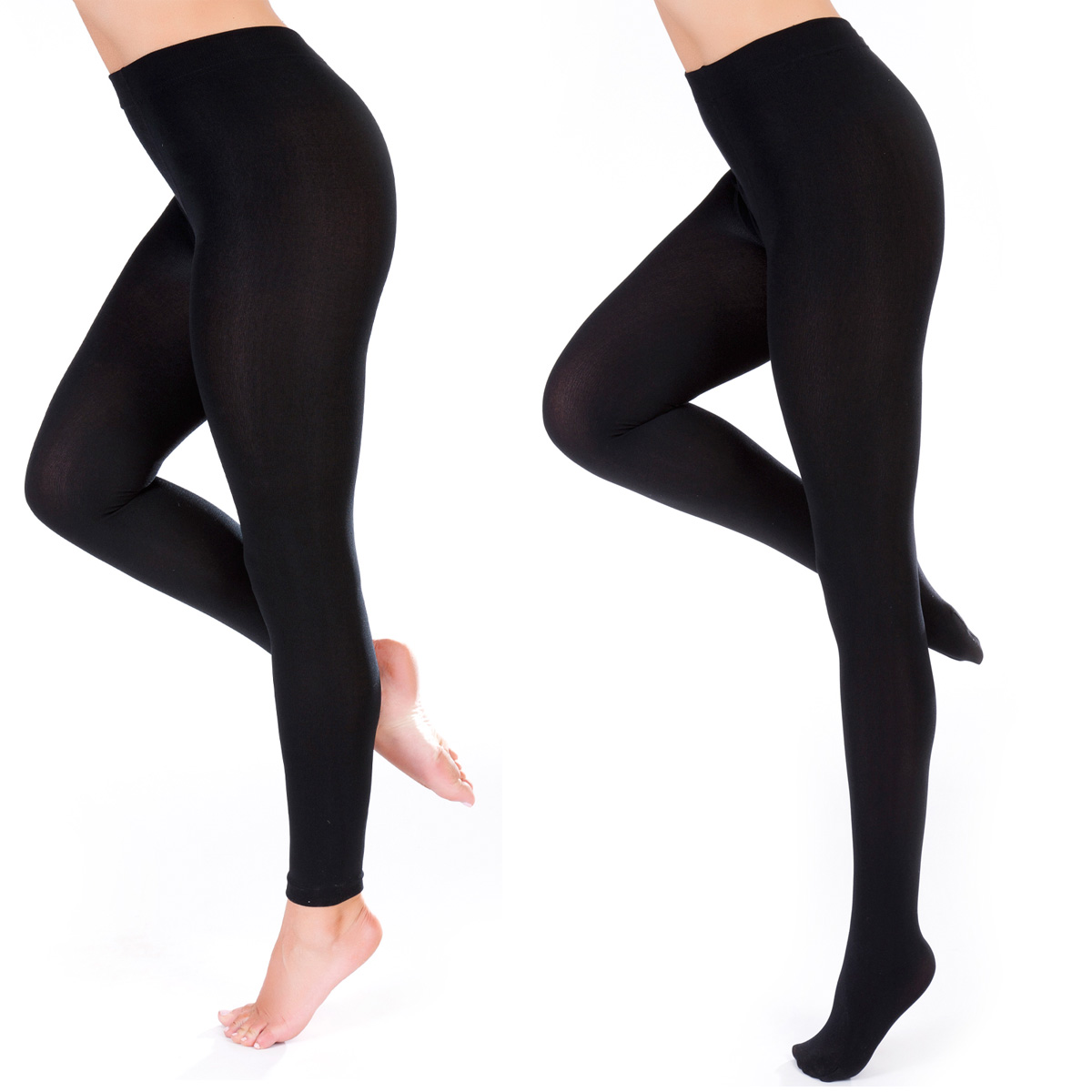 Ladies Thick Winter Thermal Leggings Black Ebay
