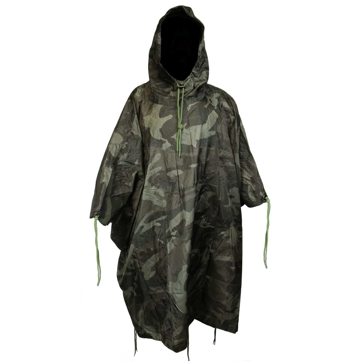Vinyl Reuseable Rainy Weather Poncho Military Woodland CAMO Style Hiking Hunting