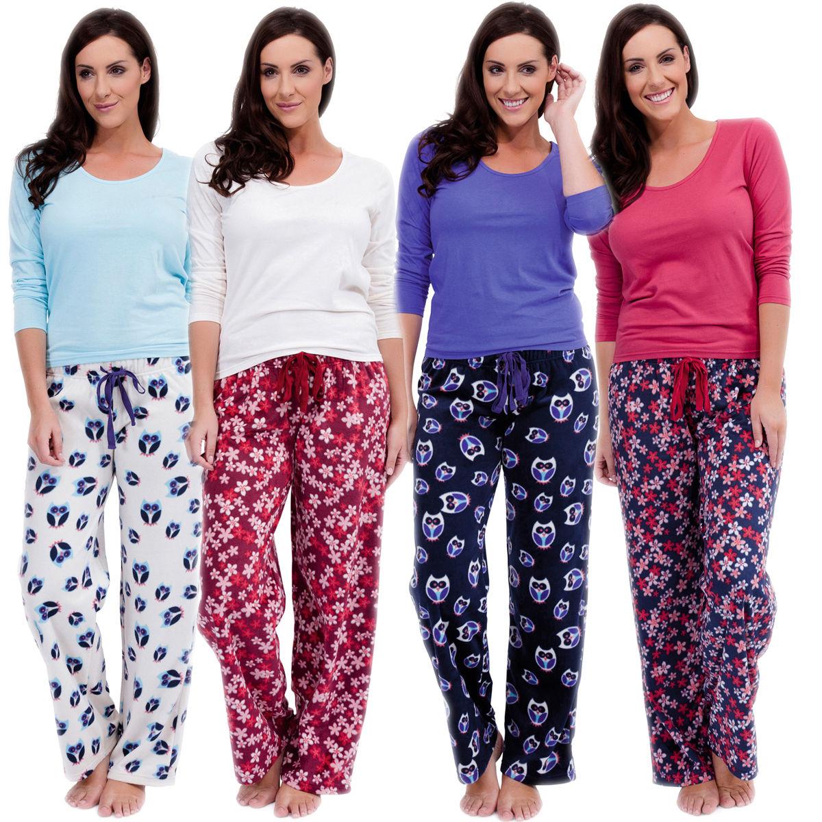 Womens Warm Fleece Winter PJ Pyjama Set Night Wear PJ's ...