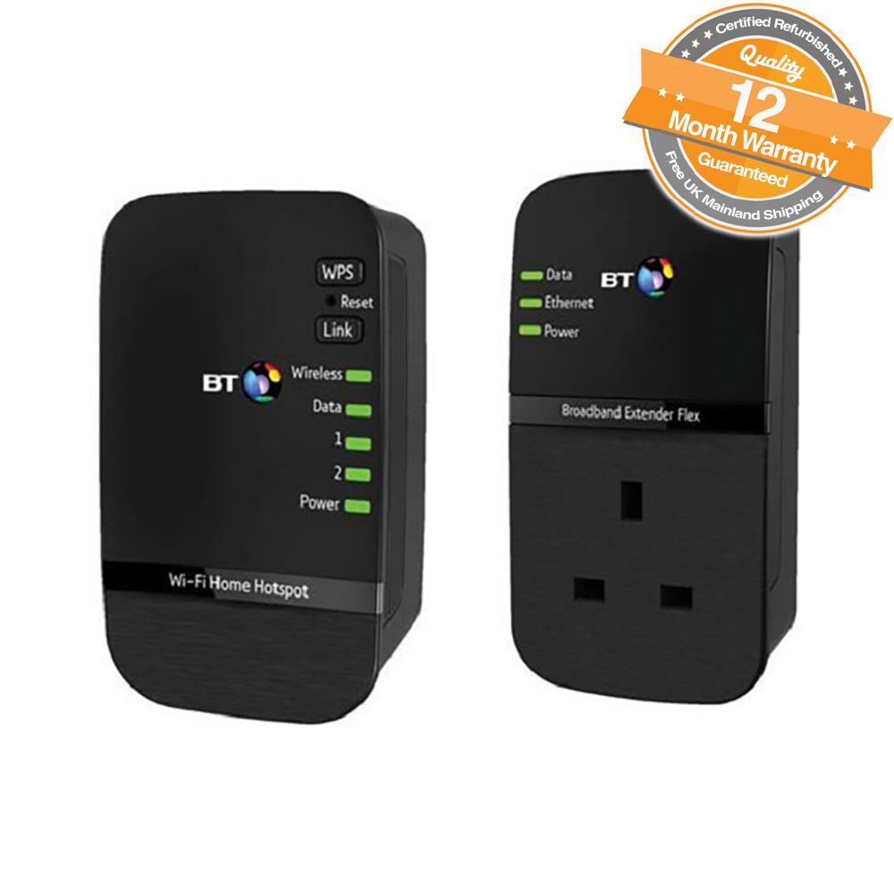Bt Wi Fi Home Hotspot 500 Kit Powerline Adapter Extender Pack Of 2 Broadband Modem In Black