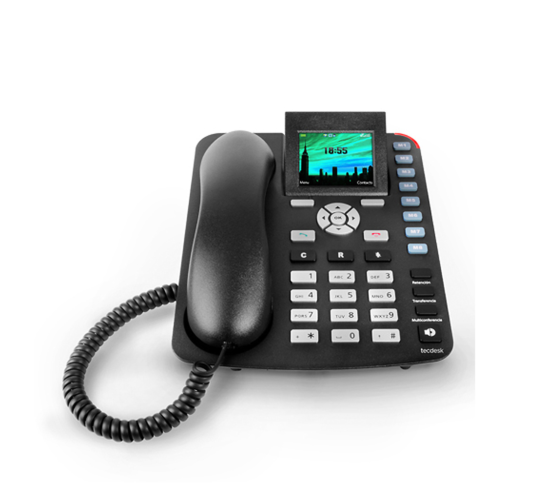 Tecdesk 3600 Gsm Office Corded Desk Phone With Lcd Display And Bluetooth Black