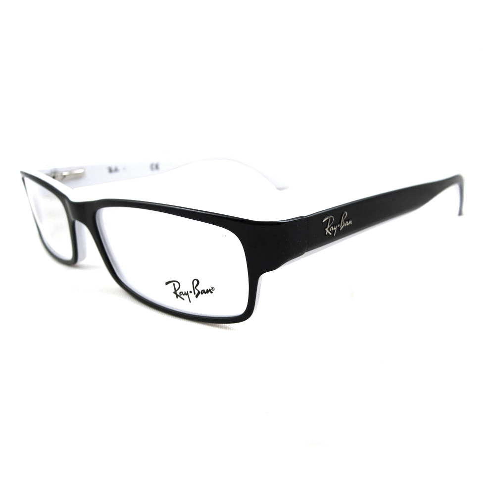 Ray-Ban Glasses Frames 5114 2097 Black White Edge 805289294856 | eBay