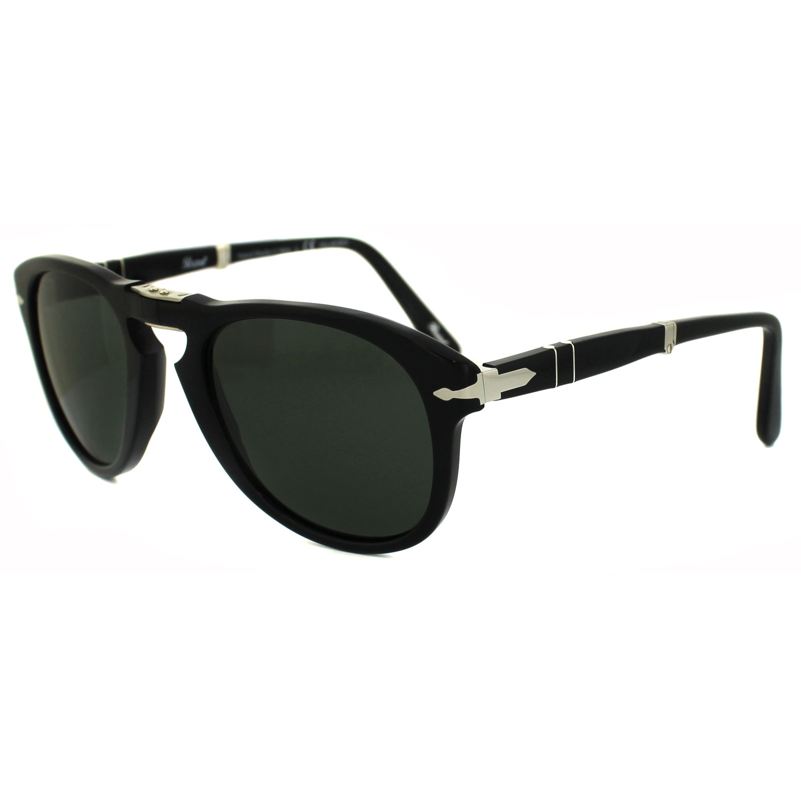 8b144b8c999a5 Sentinel Persol Sunglasses 0714 95 58 Black Green Polarized Folding Steve  McQueen 52mm