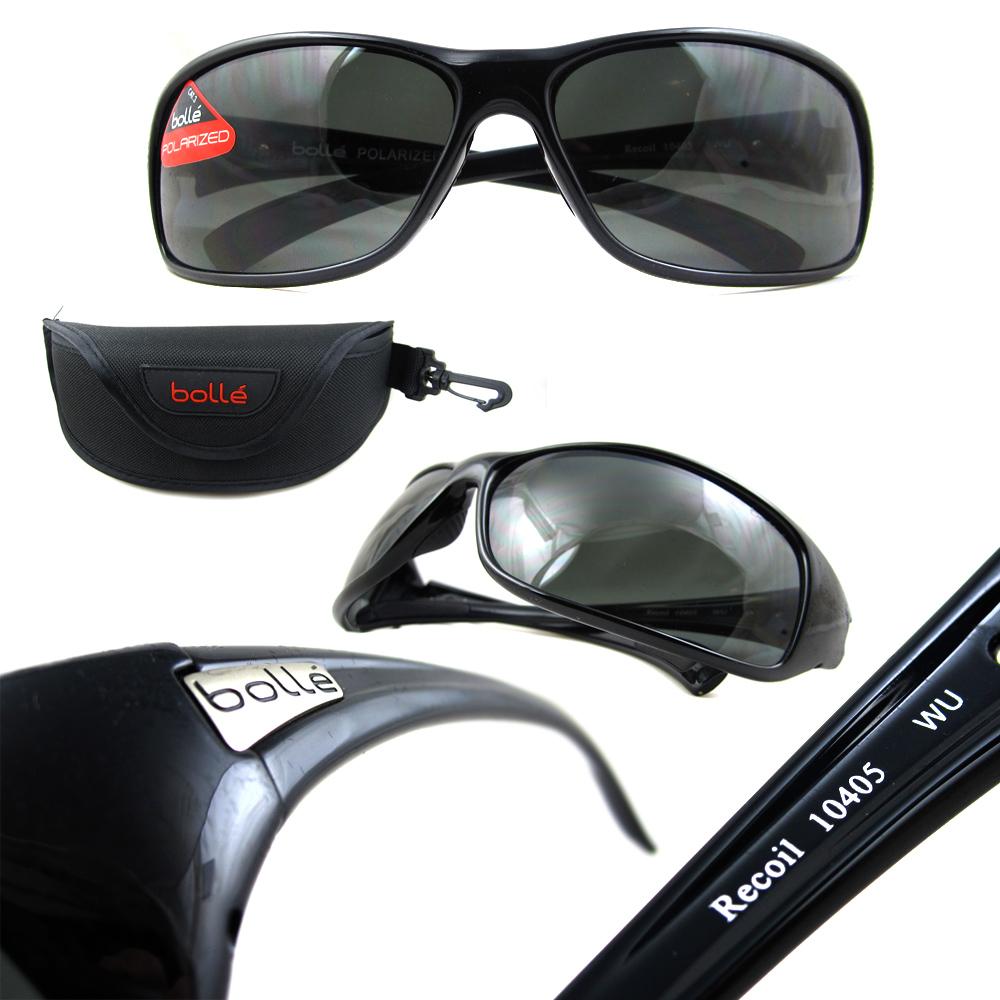 abd0e99768051 Sentinel Bolle Sunglasses Recoil 10405 Shiny Black Polarized Smoke