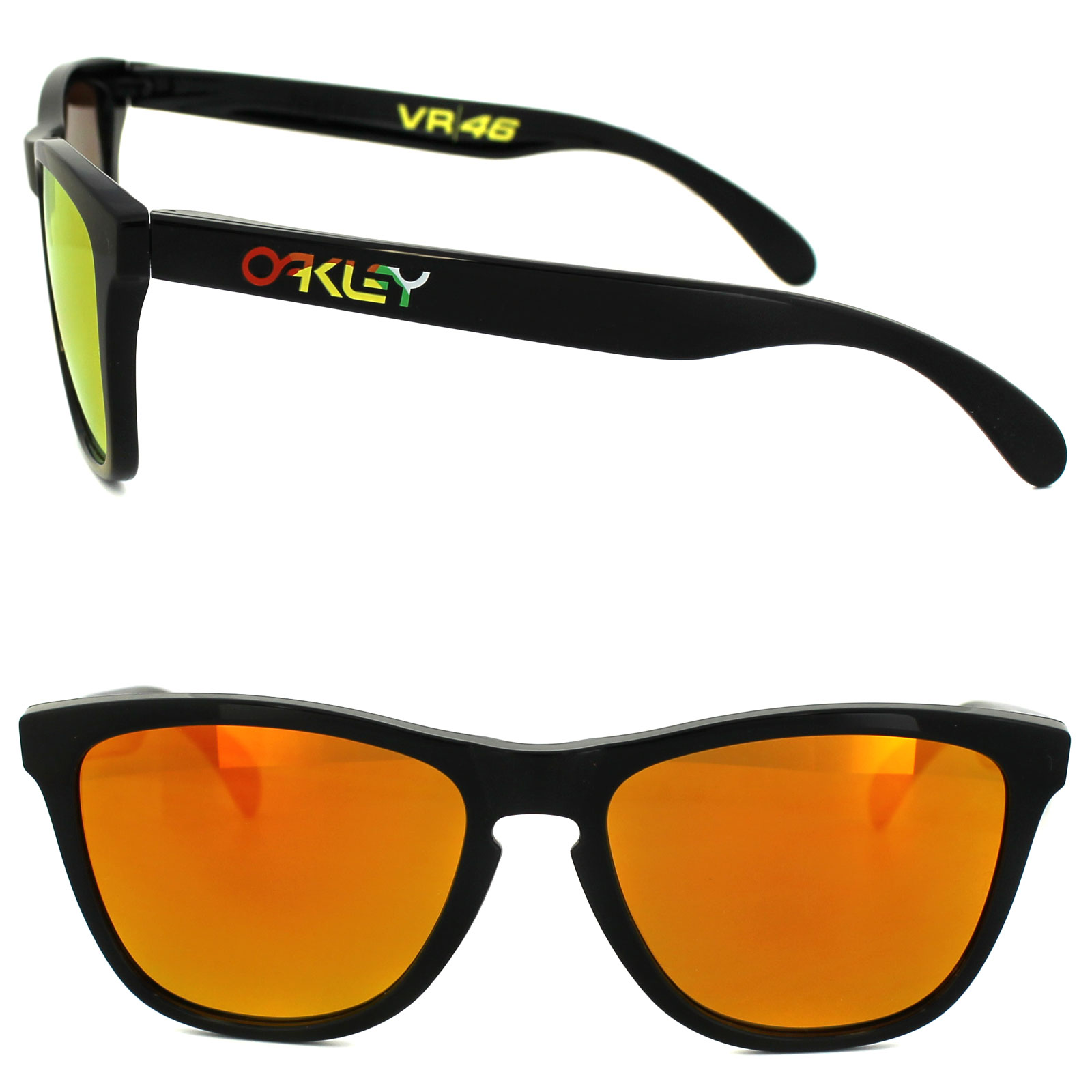 c28e83a6eb ... Oakley Sunglasses Frogskins 24-325 Polished Black Fire Iridium VR46  Thumbnail 2 ...