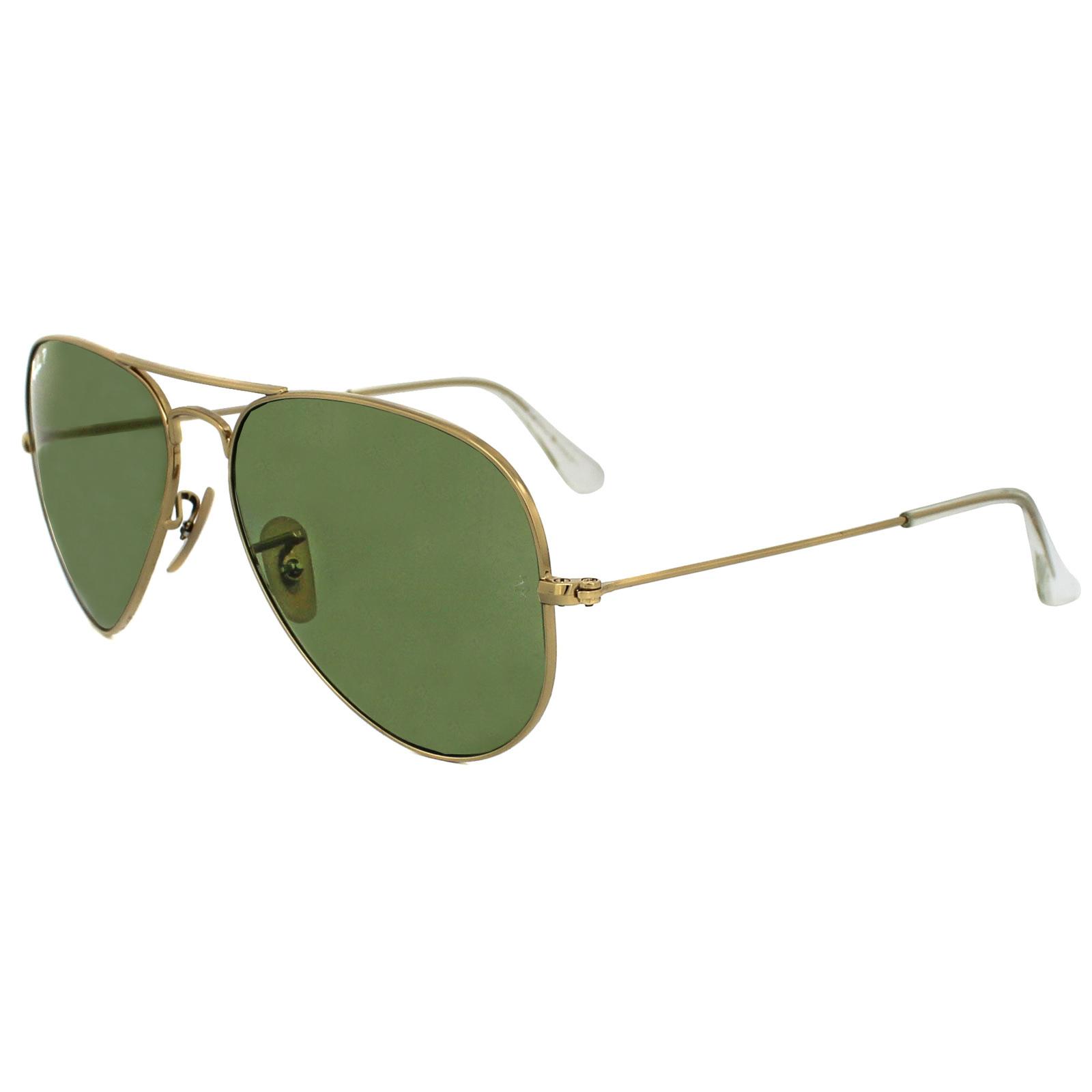 Ray-Ban Sunglasses Aviator 3025 001/P1 Shiny Gold Light Green ...