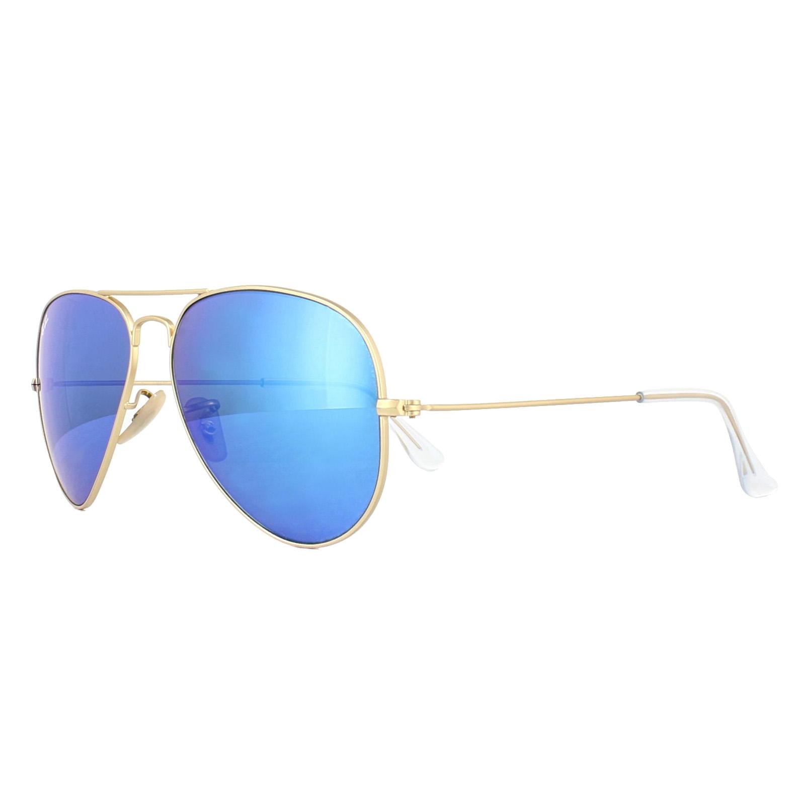 f3ace82ee CENTINELA Ray-Ban gafas de sol Aviator 3025 112/17 Matt Gold espejo azul  mediana