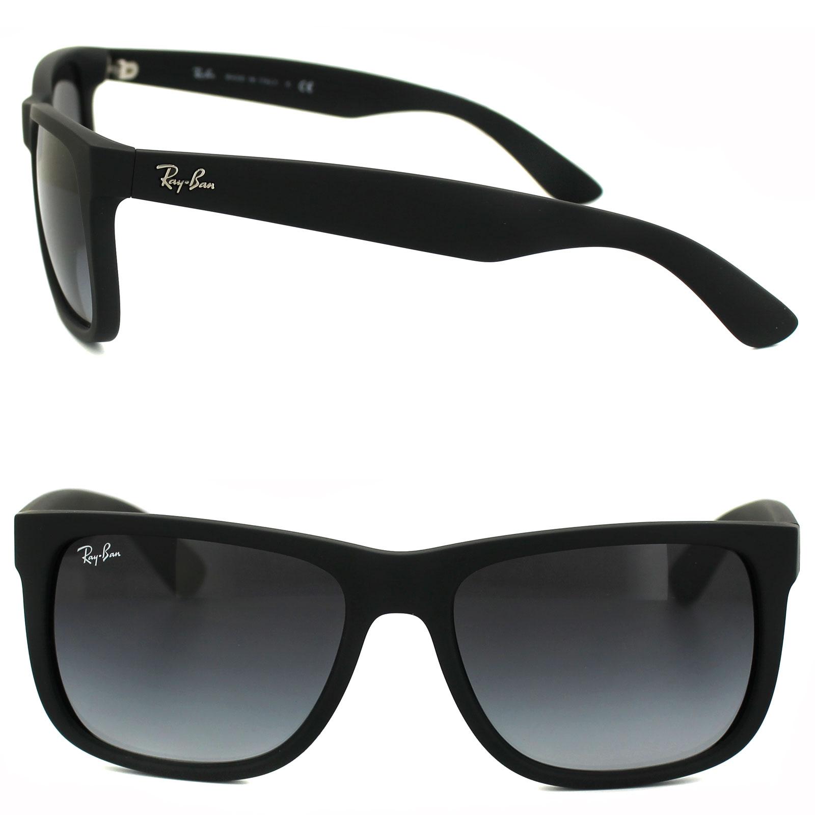 7dbafc1039 Sentinel Ray-Ban Sunglasses Justin 4165 601 8G Rubber Black Grey Gradient  Small 51mm